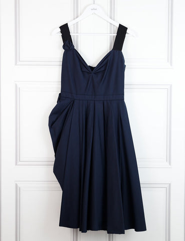 Prada blue sleeveless cocktail dress with pleats and bow detail 10 UK- My Wardrobe Mistakes