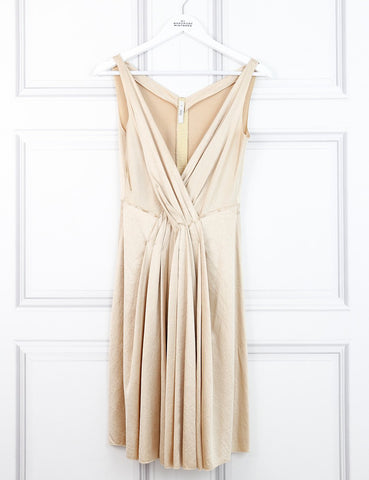 Prada gold sleeveless v-neck pleated dress 10 Uk- My Wardrobe Mistakes