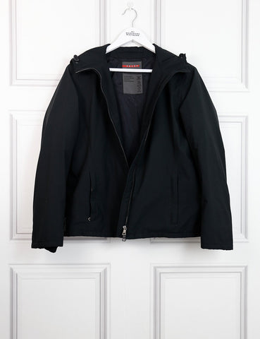 Prada black technical short hooded winds topper jacket 12UK- My Wardrobe Mistakes
