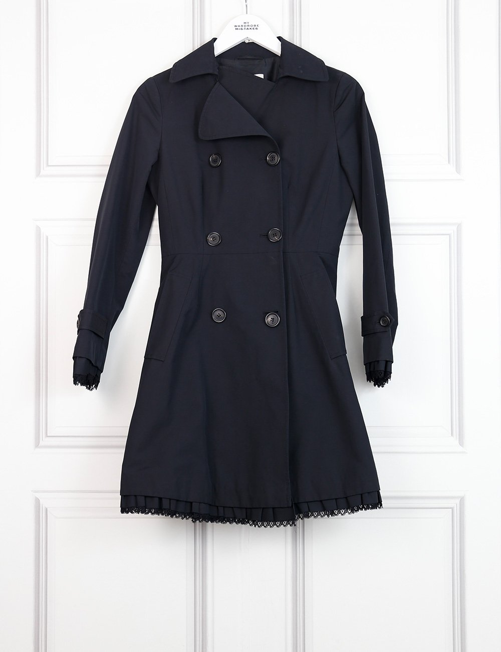 Prada black trench coat with delicate hem 6UK- My Wardrobe Mistakes
