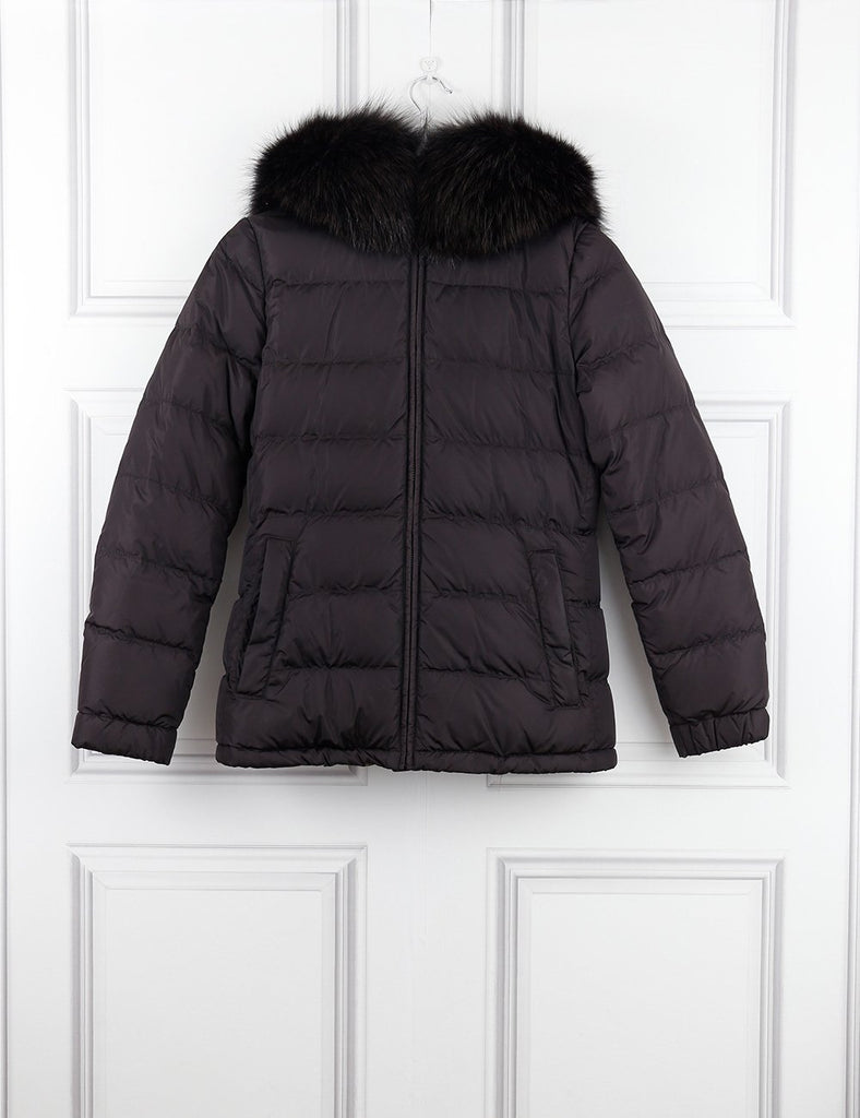 PRADA CLOTHING 6UK-38IT-34FR / Brown PRADA Puffed jacket with hooded fur