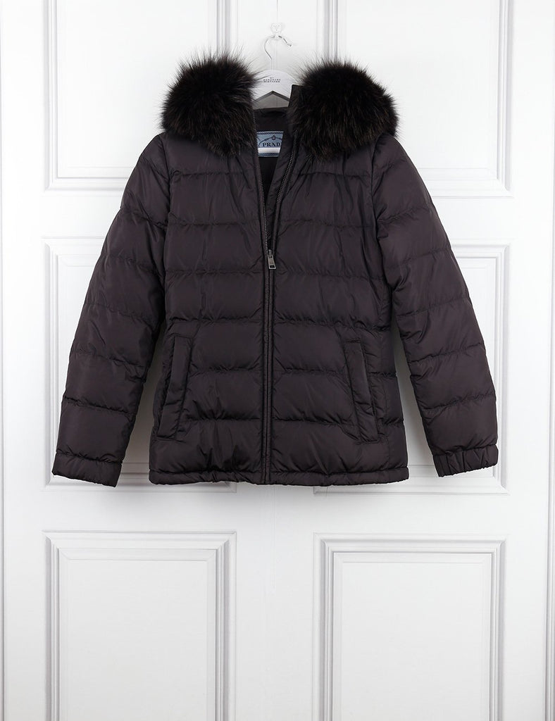 Prada brown puffer jacket with hooded fur 6UK- My Wardrobe Mistakes