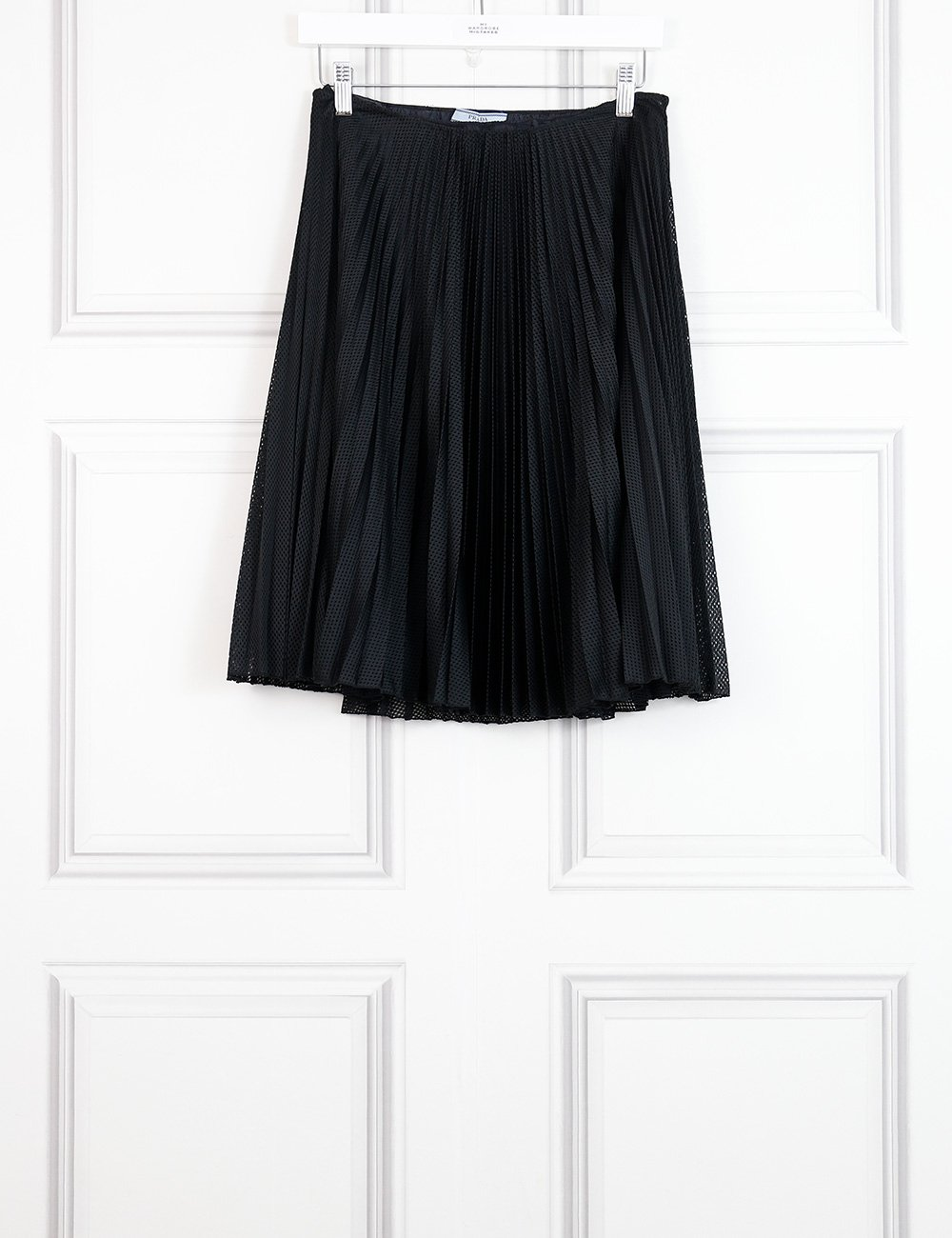 Prada black perforated pleated skirt 8UK- My Wardrobe Mistakes