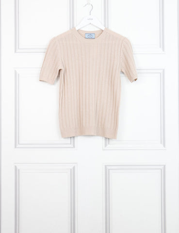 Prada beige short sleeves round neck knit sweater 8UK- My Wardrobe Mistakes
