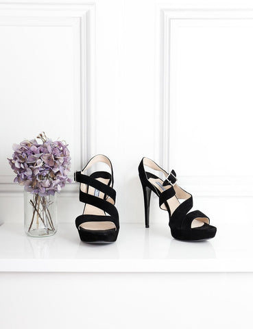 Prada black suede open toe sandals 6Uk- My Wardrobe Mistakes