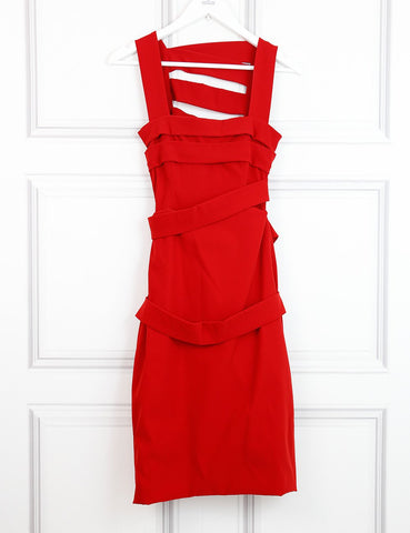 Preen red fitted dress with bands 10UK- My Wardrobe Mistakes
