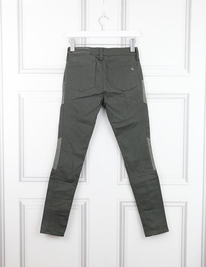 Rag&Bone green trousers with leather details 6UK- My Wardrobe Mistakes  Edit alt text