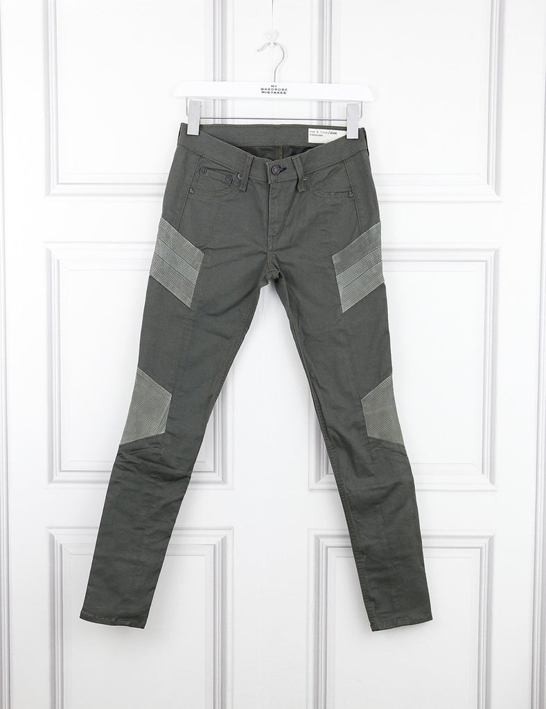 Rag&Bone green trousers with leather details 6UK- My Wardrobe Mistakes