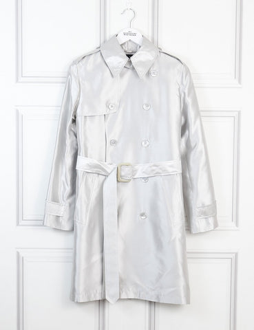 Ralph Lauren silver belted trench coat 8Uk- My Wardrobe Mistakes