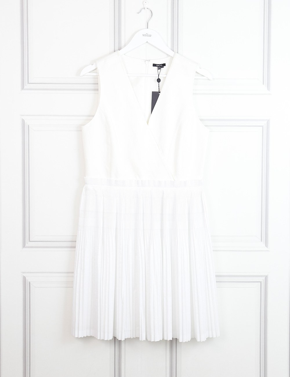 Raoul white sleeveless dress with pleats 14Uk- My Wardrobe Mistakes