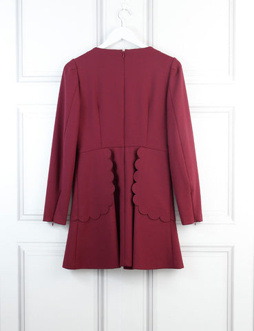 Red Valentino Burgundy embellished Peter Pan collar dress 10 UK- My Wardrobe Mistakes