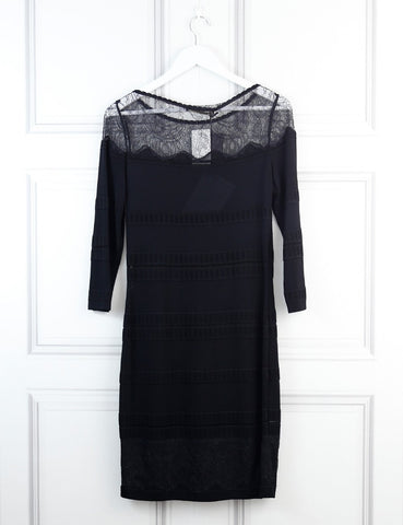 Roberto Cavalli black fitted dress with lace details 10 Uk- My Wardrobe Mistakes