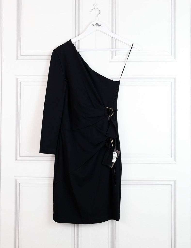 Roberto Cavalli black one-shoulder dress with belts 8UK- My Wardrobe Mistakes
