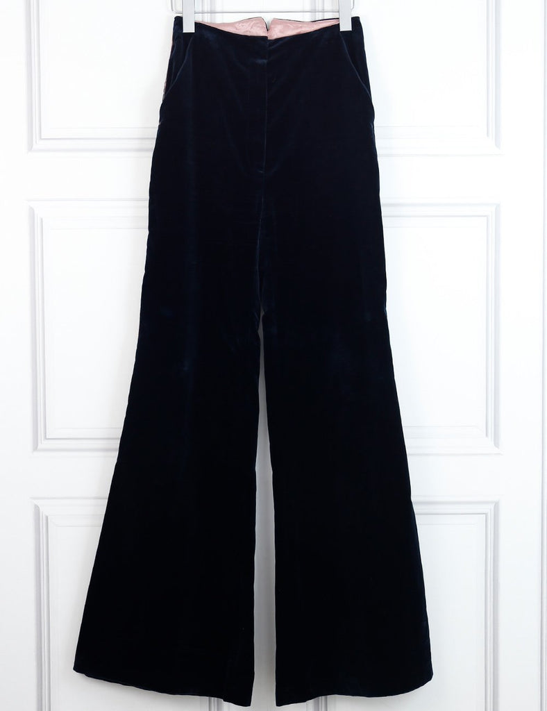 Roksanda black velvet wide leg trousers with contrasting piping 10UK- My Wardrobe Mistakes