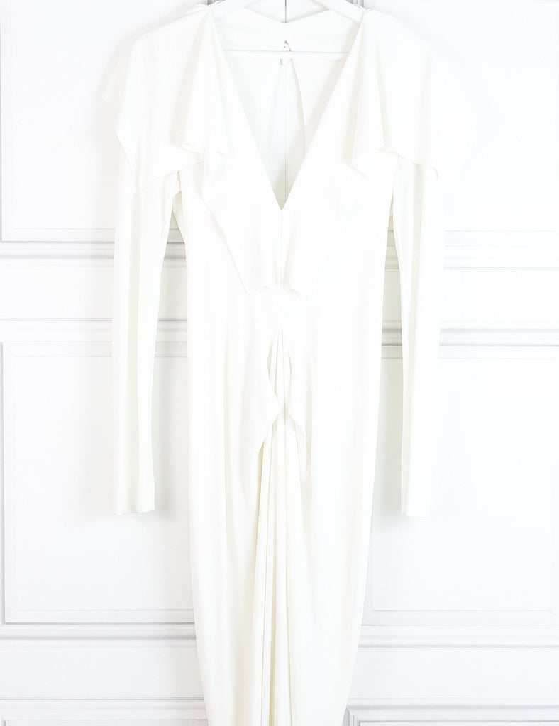 Roland Mouret white Compeyson long sleeve jersey gown 10 Uk- My Wardrobe Mistakes