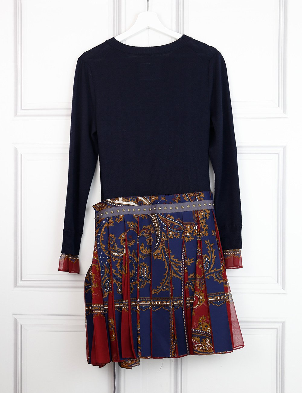 Sacai multicolour woollen dress with pleated skirt 12 UK- My Wardrobe Mistakes