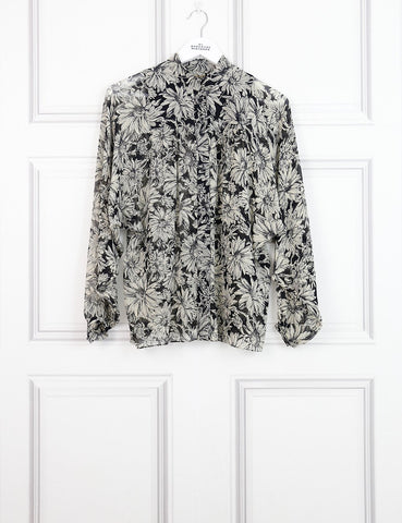 Saint Laurent multicolour sheer shirt with floral motives 8UK- My Wardrobe Mistakes