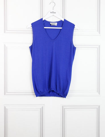 Saint Laurent blue sleeveless v-neck sweater 12 Uk- my Wardrobe Mistakes