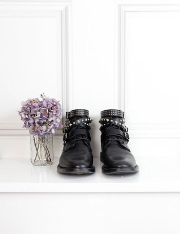 Saint Laurent black studded strap ankle boots 7Uk- My Wardrobe Mistakes