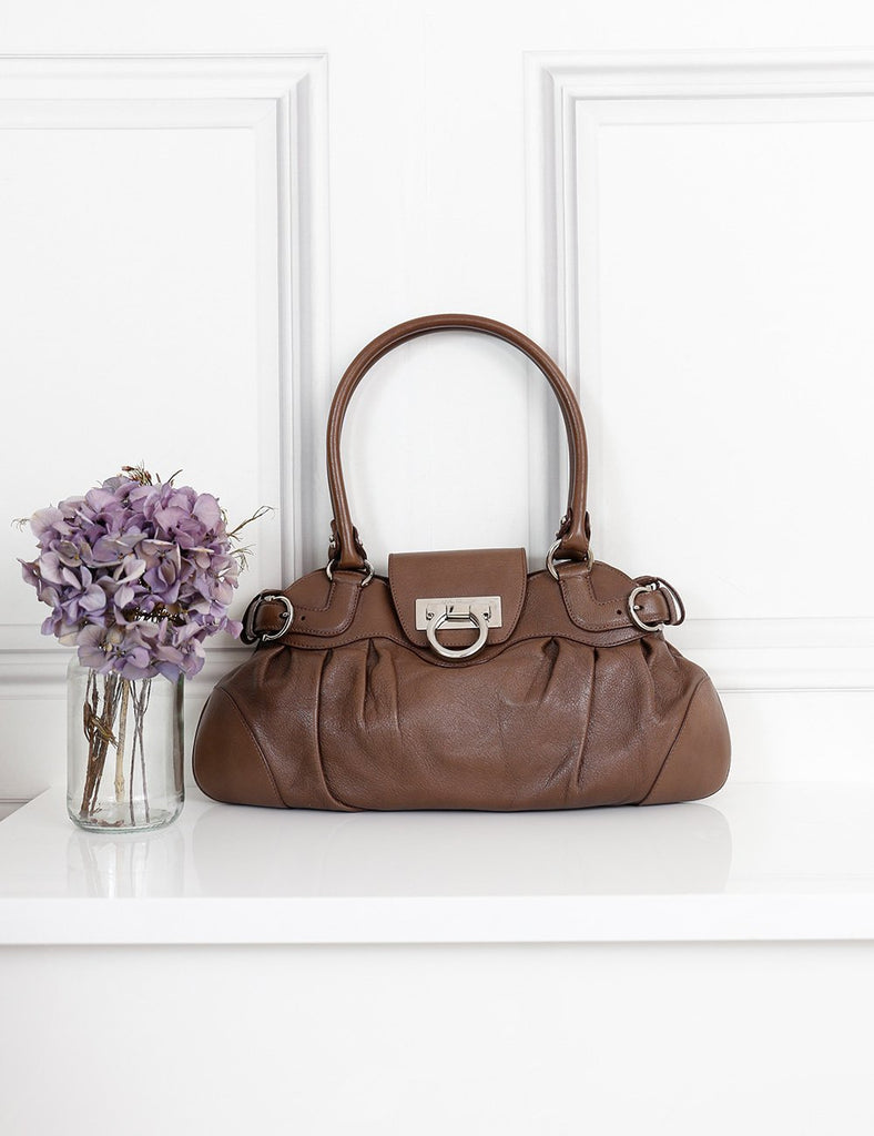 Salvatore Ferragamo brown shoulder bag with gancio lock- My Wardrobe Mistakes