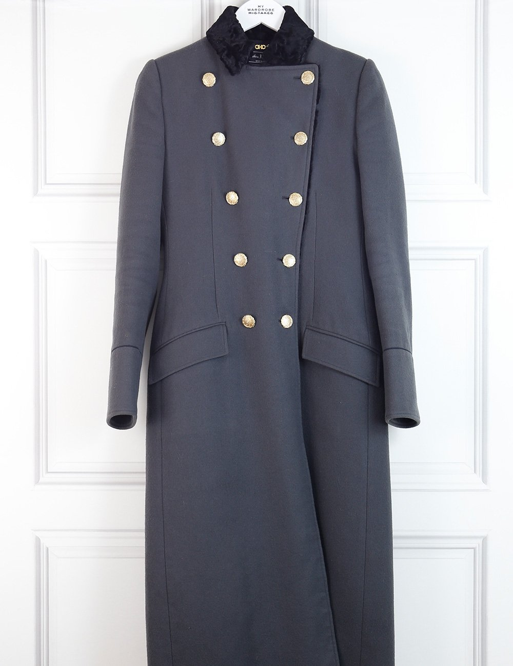 Salvatore Ferragamo grey long coat with fur and golden buttons 8UK- My Wardrobe Mistakes