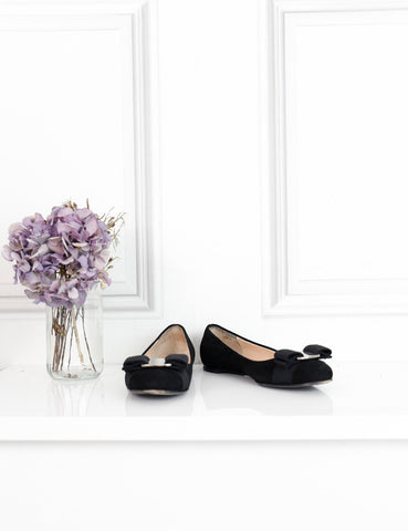 Salvatore Ferragamo black velvet flat ballerinas with bow 1Uk- My Wardrobe Mistakes