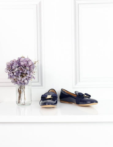 Salvatore Ferragamo blue patent flat ballerinas with bow 1Uk- My Wardrobe Mistakes