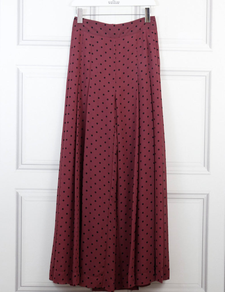 See by Chloe Burgundy pleated polka dot crepe wide leg pants 8Uk