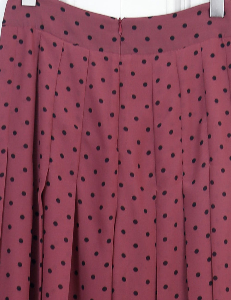 See by Chloe Burgundy pleated polka dot crepe wide leg pants 8Uk  Edit alt text