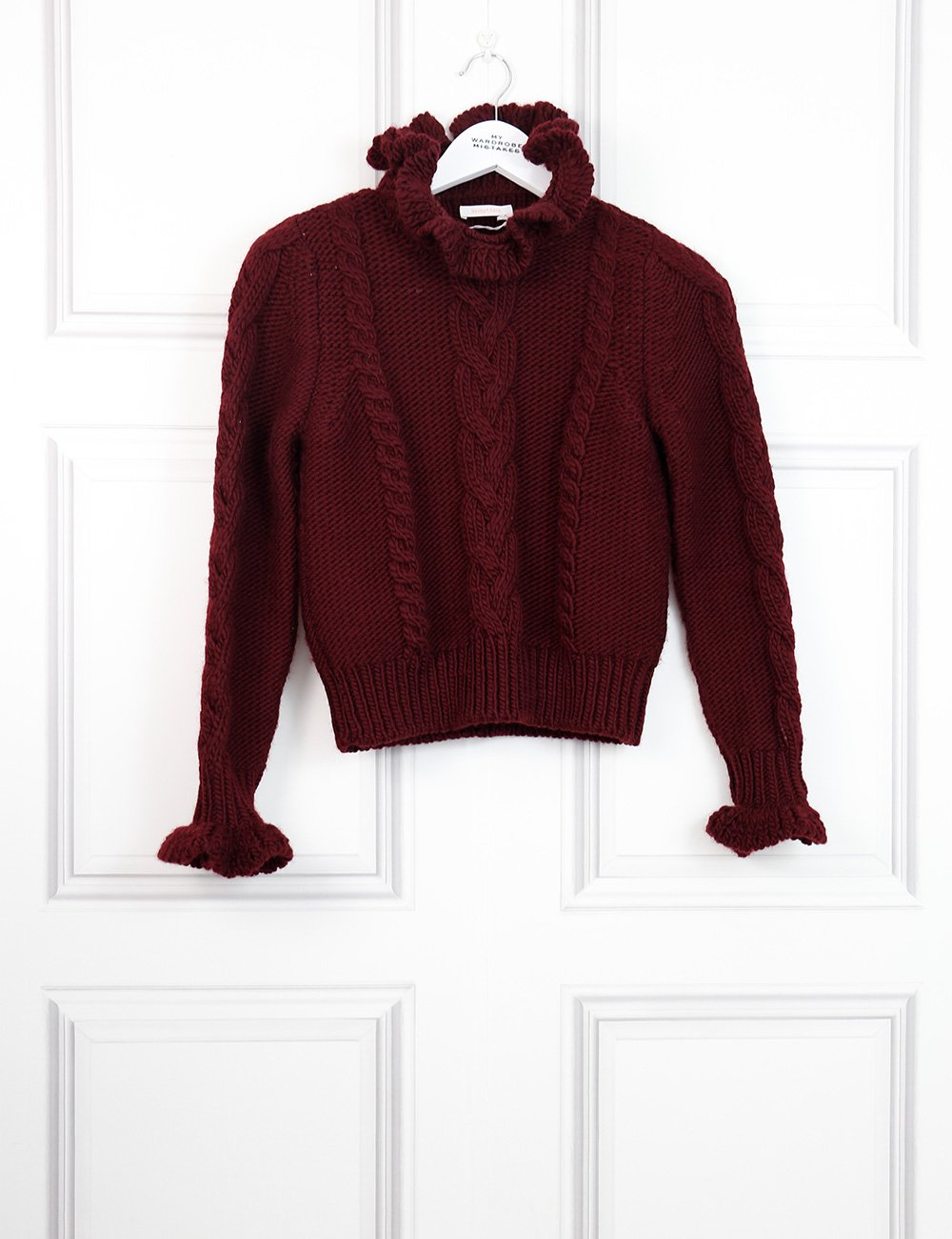 See by Chloe Burgundy cable knit sweater 8UK- My Wardrobe Mistakes