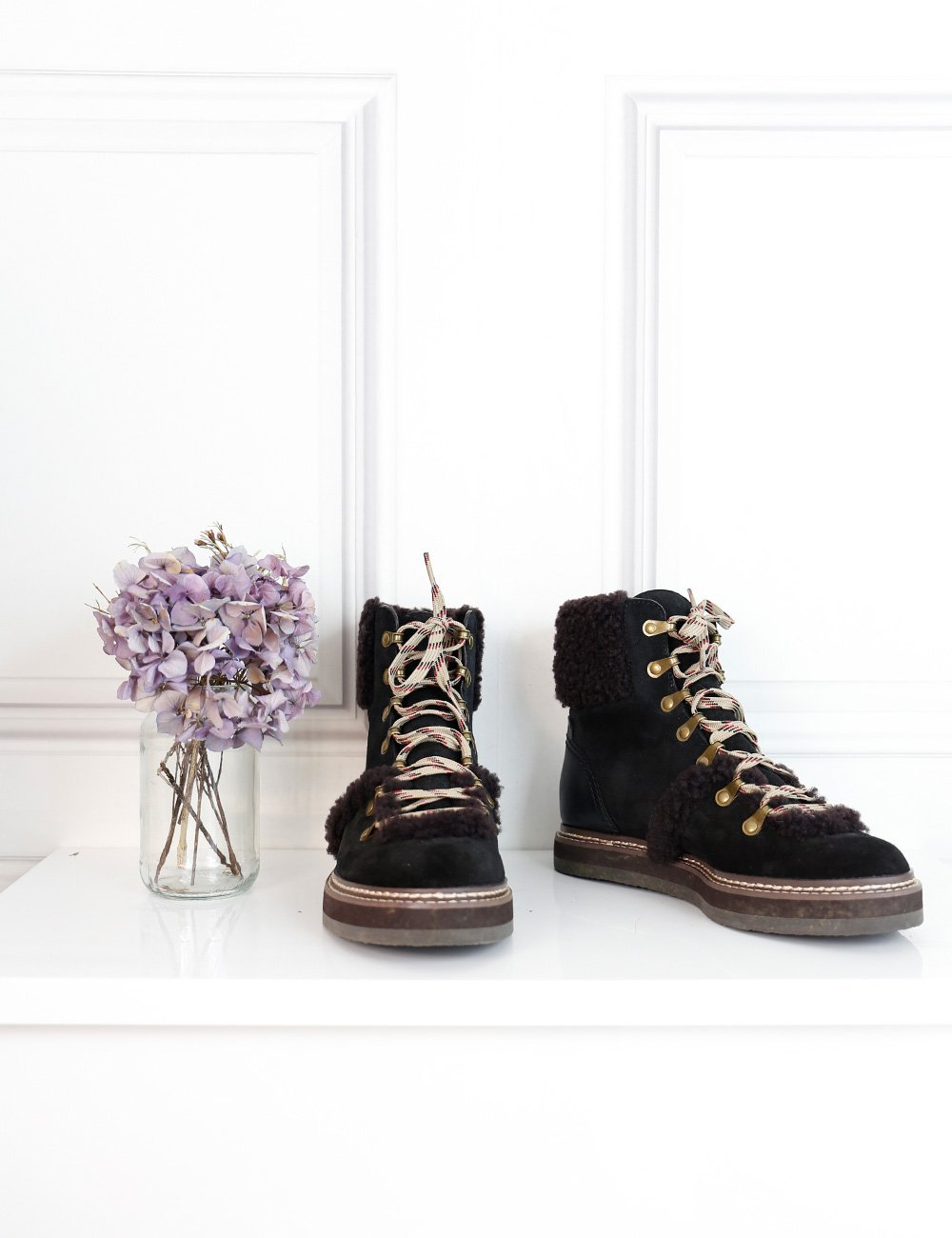 See by Chloe multicolour hiking boots with fur trimming 5UK- My Wardrobe Mistakes