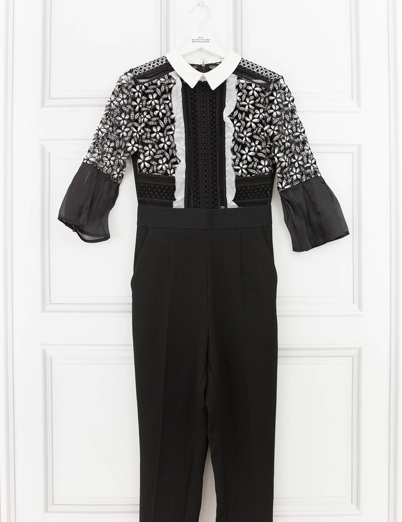 SELF PORTRAIT CLOTHING Bell Sleeve Jumpsuit With Collar