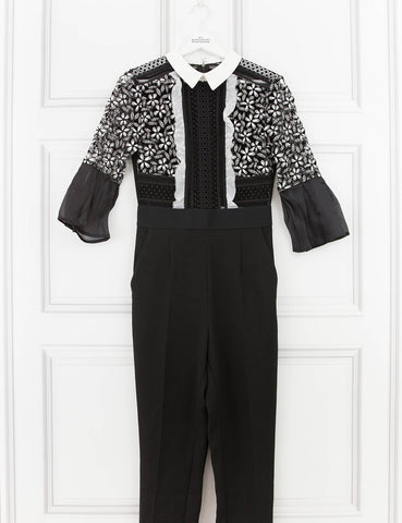 SELF PORTRAIT CLOTHING Bell Sleeve Jumpsuit With Collar- 10UK- My Wardrobe Mistakes