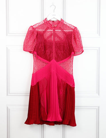 Self Portrait multicolour panelled silk and lace dress 10Uk- My Wardrobe Mistakes