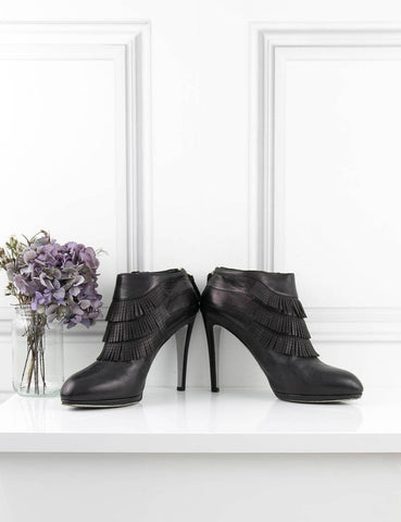 SERGIO ROSSI SHOES Fringed ankle boots BLACK 7UK- My Wardrobe Mistakes