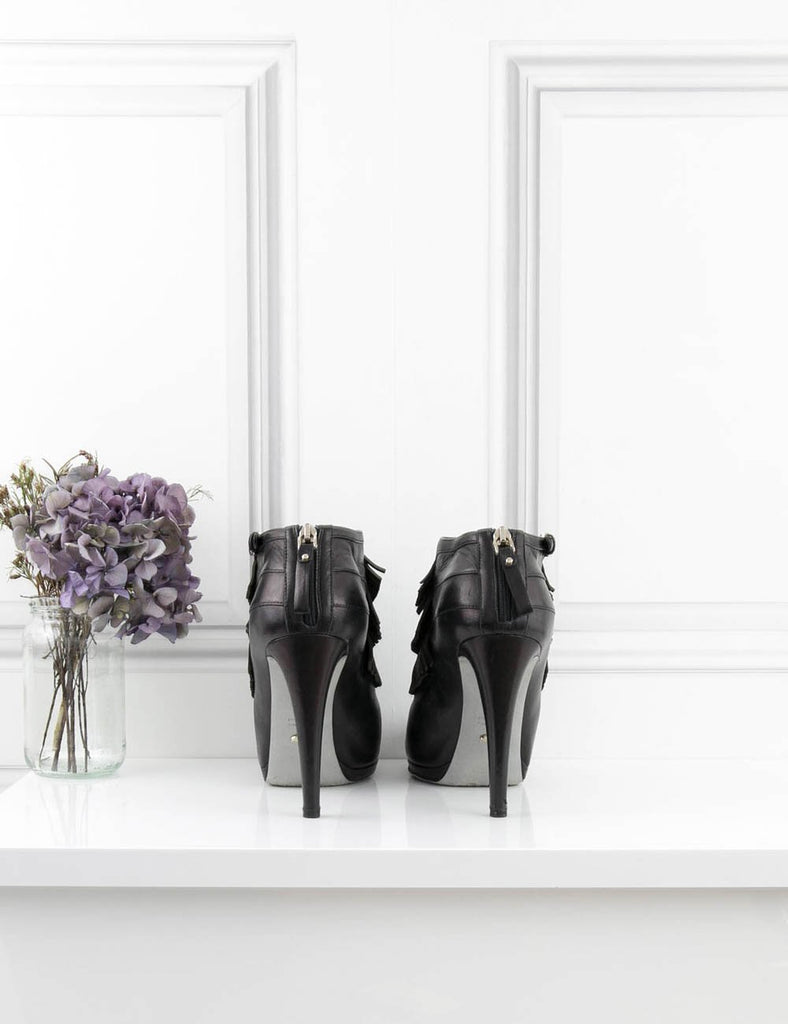 SERGIO ROSSI SHOES Fringed ankle boots