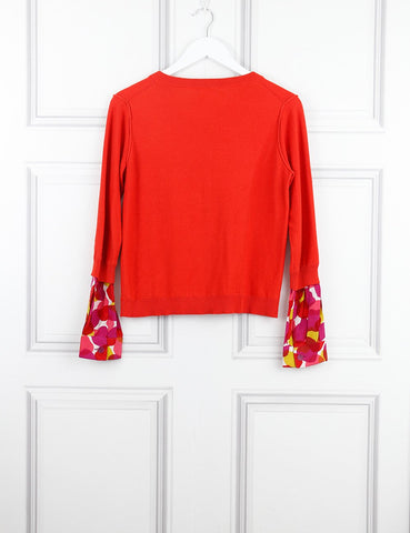 Sonia red cardigan with bow button 10UK- My Wardrobe Mistakes