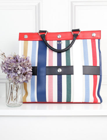 Sonia Rykiel striped multicolour maxi Cindy canvas bag