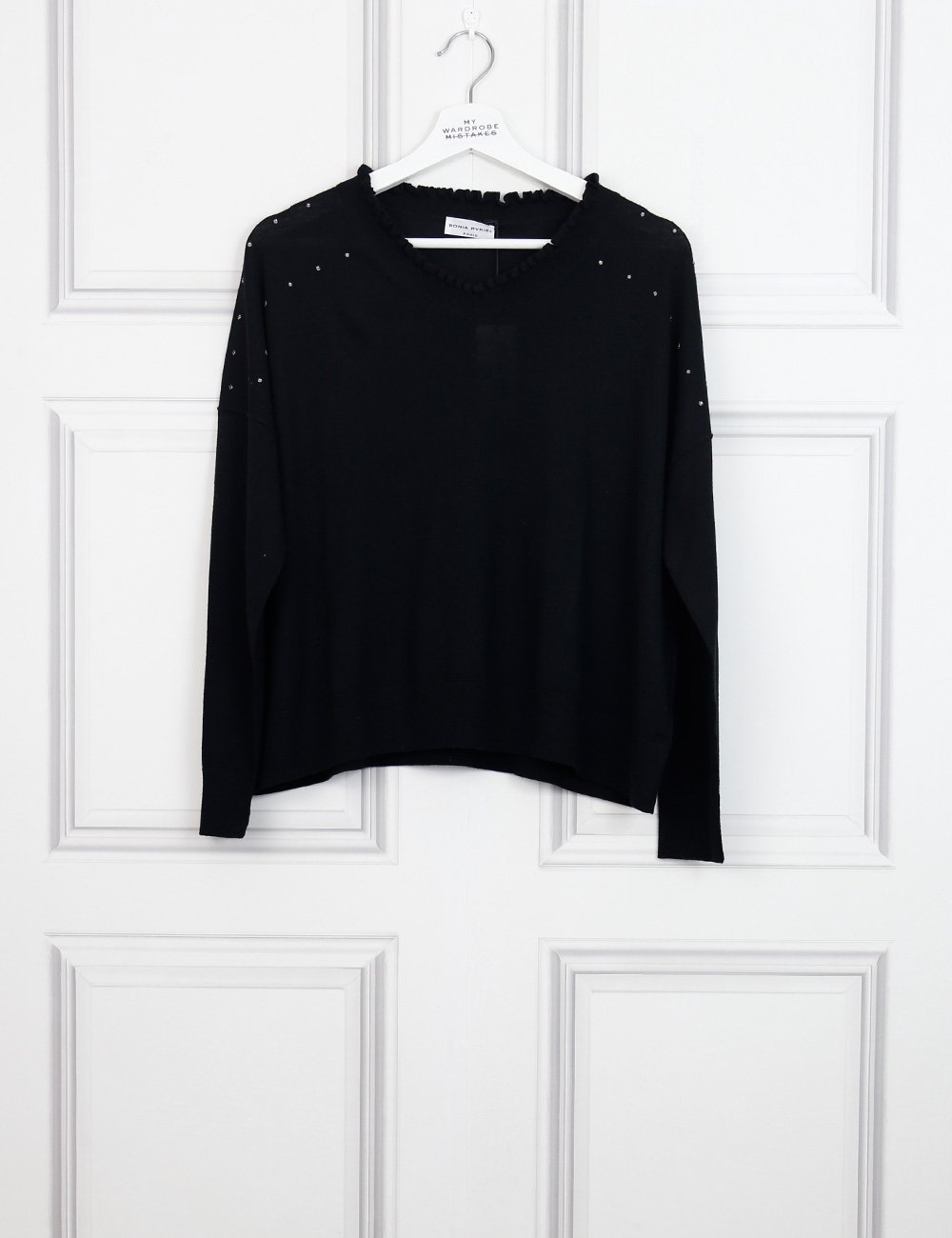 Sonia Rykiel black v neck pullover with rhinestones embellishment 8Uk