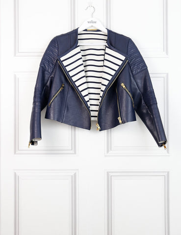 SOPHIE HULME CLOTHING 10UK-42IT-38FR / Blue SOPHIE HULME Biker leather jacket