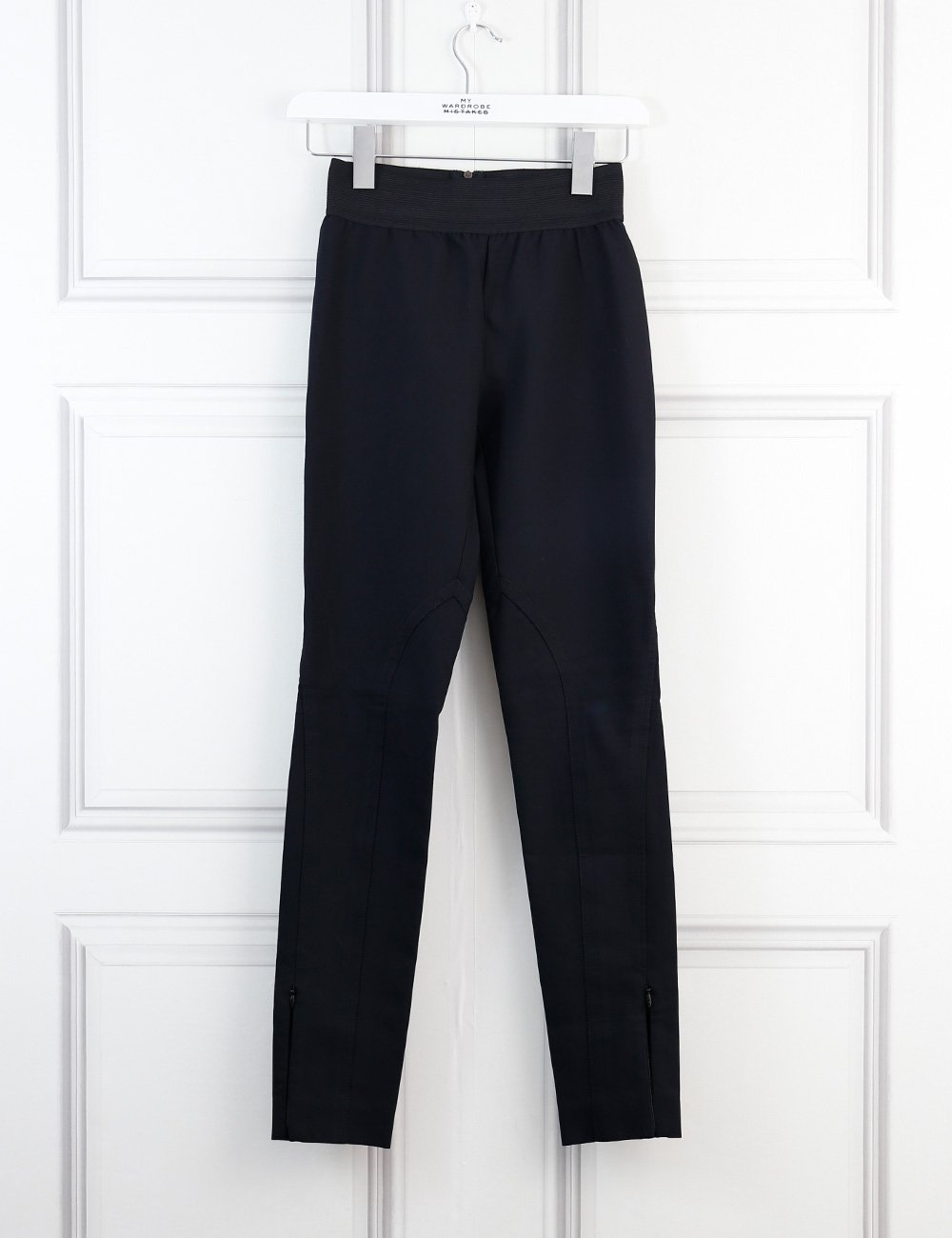 Stella McCartney black skinny trousers with elasticised belt and zipped ankles 6Uk