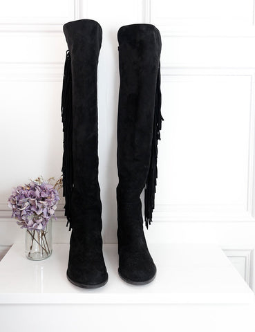 Stuart Weitzman black over-the-knee suede boots with fringes 7.5UK- My Wardrobe Mistakes
