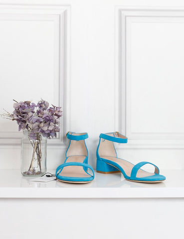 STUART WEITZMAN SHOES 7UK-40IT-41FR / Turquoise STUEART WEITZMAN Suede low heel sandals