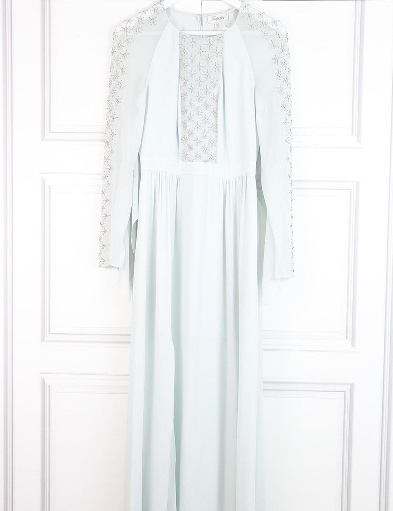 Temperley pale blue long dress with stone embellishments 10UK- My Wardrobe Mistakes
