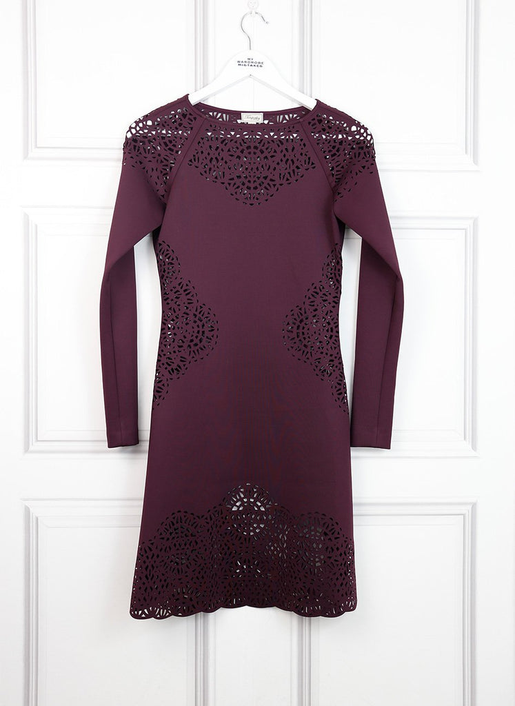Temperley purple Sami laser cut neoprene dress 8UK- My Wardrobe Mistakes