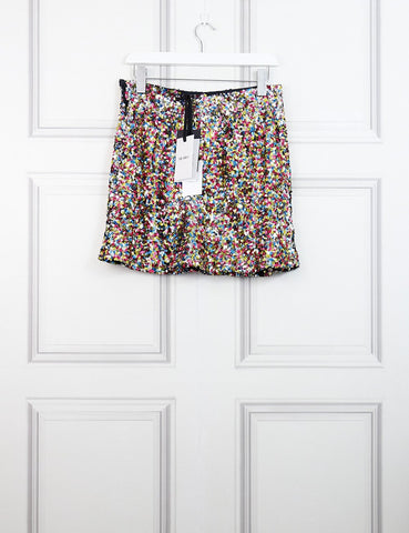 The Attico multicolour high waisted sequinned mini skirt 14UK- My Wardrobe Mistakes