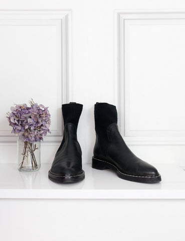 The Row black Fara ribbed cashmere panelled leather Chelsea boots