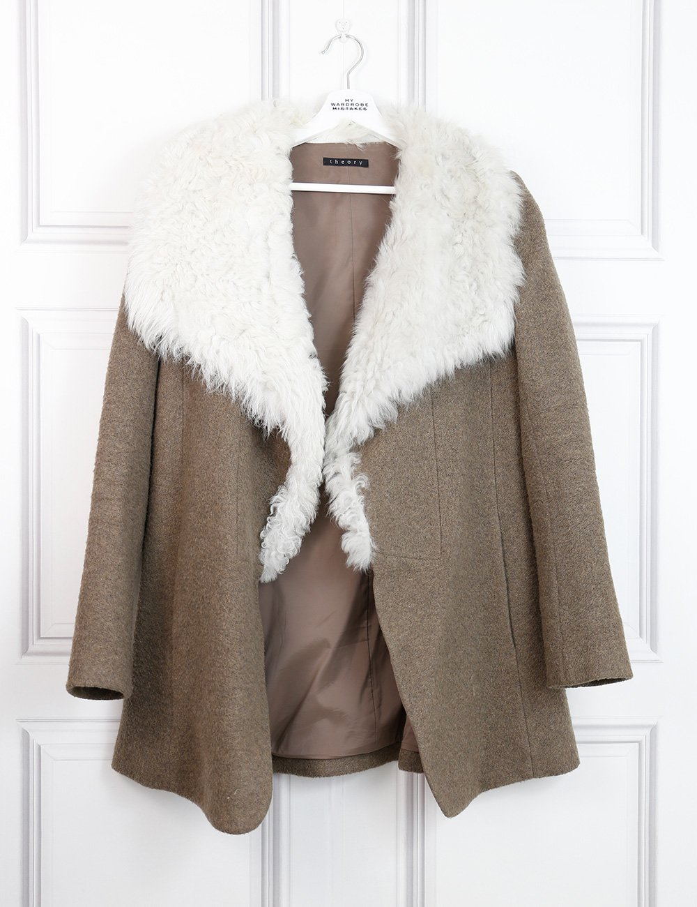 Theory multicolour Troyda coat with shearling neck 8UK- My Wardrobe Mistakes