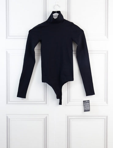 Theory black one size Race stretch jersey turtleneck bodysuit- My Wardrobe Mistakes