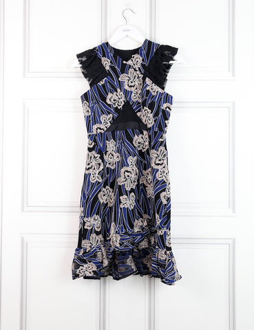 Three Floor multicolour floral motif dress with frilled hem 8UK- My Wardrobe Mistakes